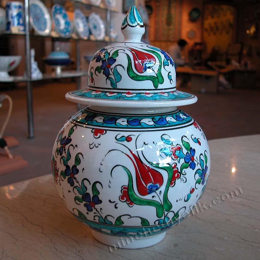 15 cm Çini Kavanozlar Osmanlı Dekoratif Hediyelik Eşyalar İznik Çinileri Kütahya Şapkalı Küre Küp Kavanoz Desenleri ve Modelleri