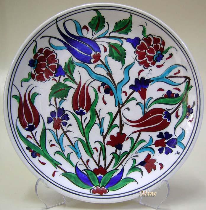 18cm Klasik Çini Tabaklar Türk Çini Sanatı Örnekleri Desenleri  Osmanlı İznik ve  Kütahya Çinileri