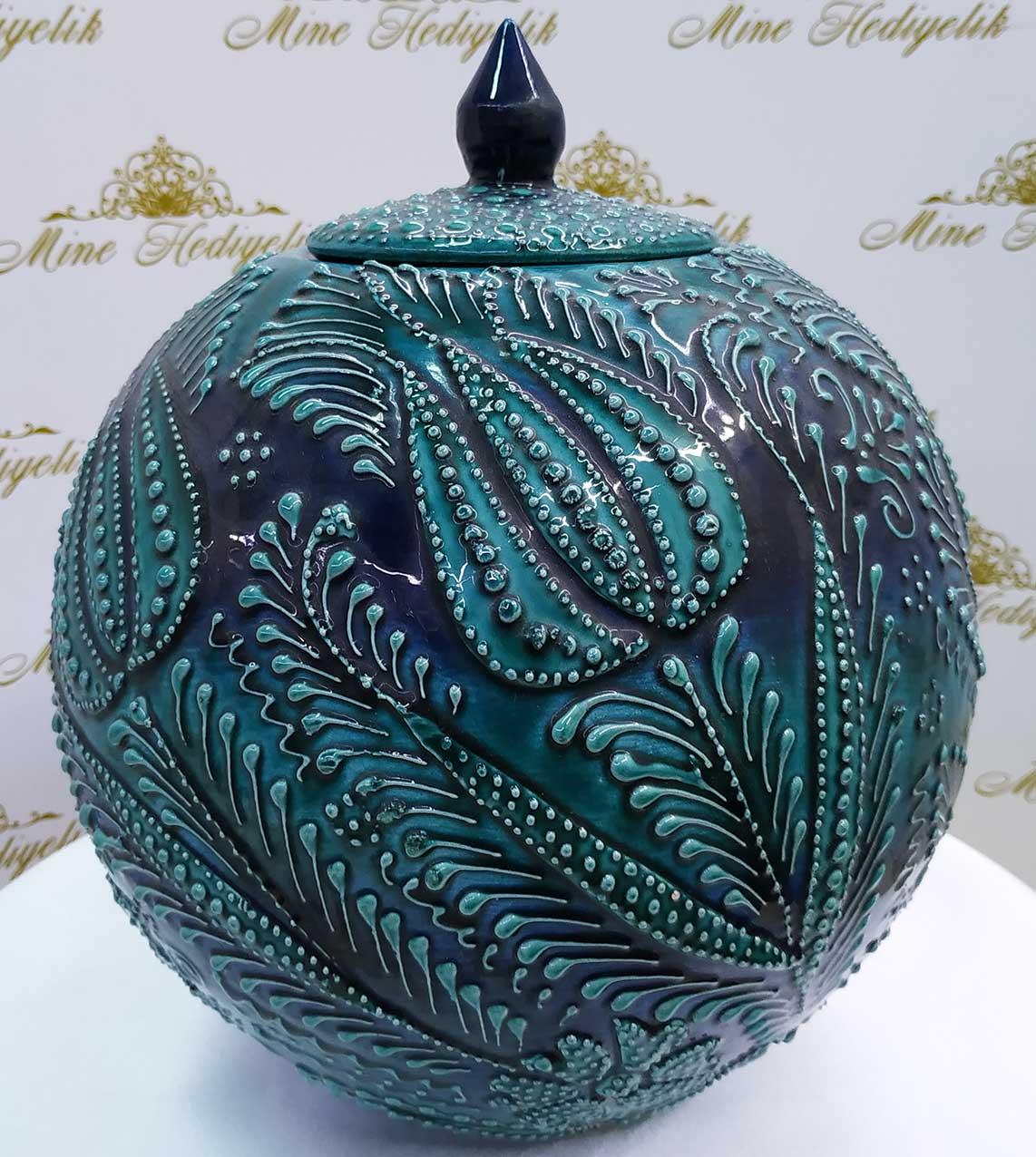20 cm Çini Kavanozlar Osmanlı Dekoratif Hediyelik Eşyalar İznik Çinileri Kütahya Şapkalı Küre Küp Kavanoz Desenleri ve Modelleri