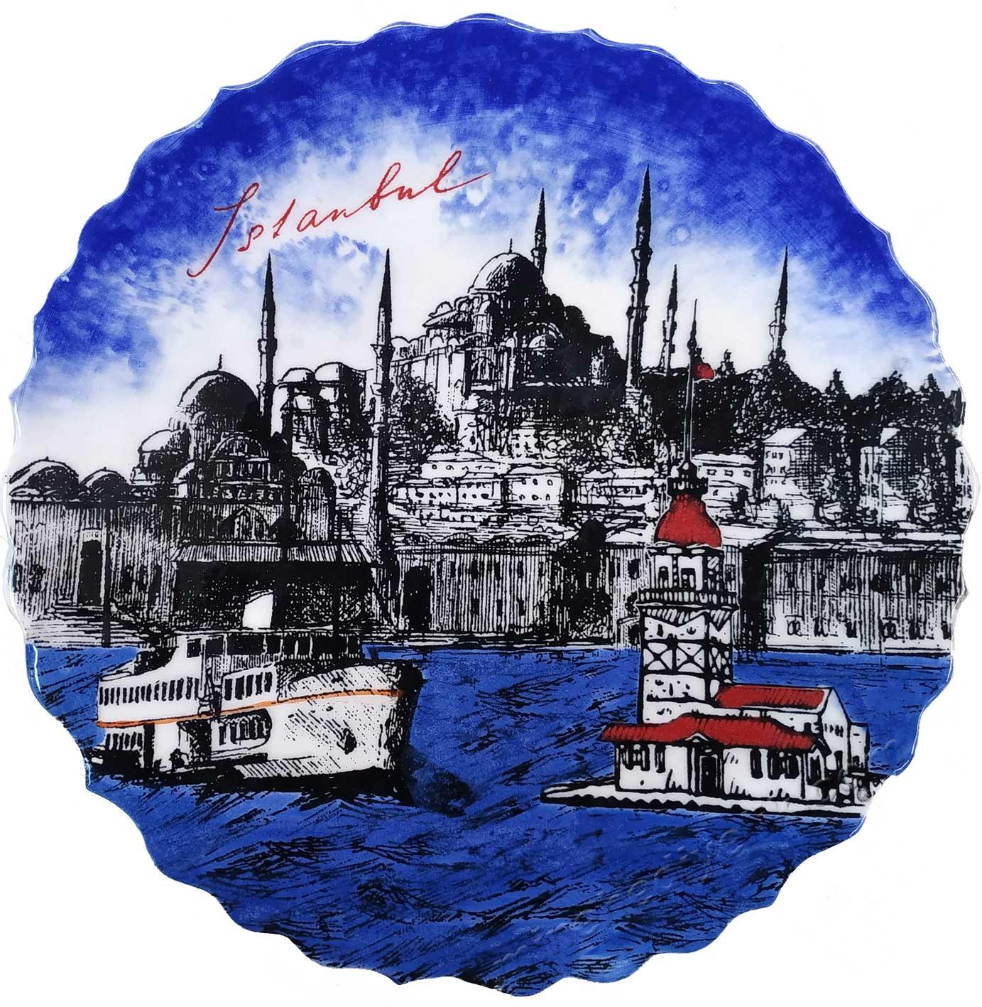 Türkiye ve İstanbul Hatırası Hediyelik Çini Tabak Yabancı Misafirler İçin Kurumsal Hediye