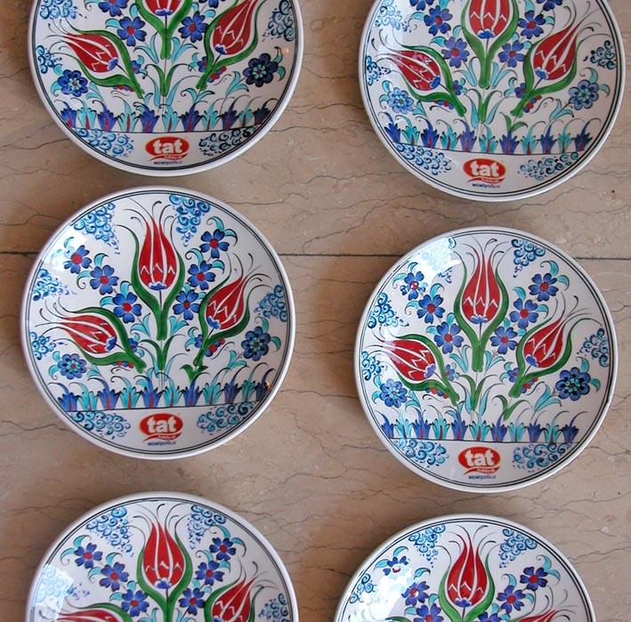 Klasik Desen Dekal Logolu Çini Tabaklar kurumsal hediyelik