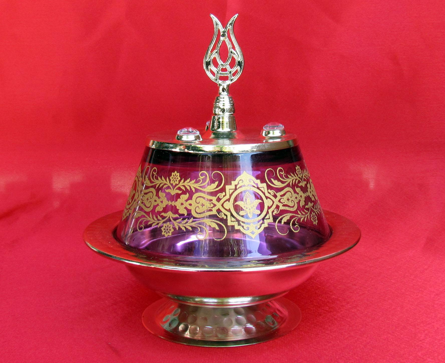 TR301650-02 Lale Başlıklı Osmanlı Motifli Camlı Şekerlik Kutuları