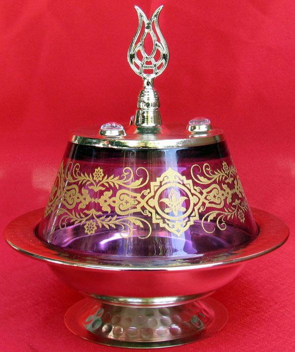 TR301650-02 Lale Başlıklı Osmanlı Motifli Camlı Şekerlik Kutuları kurumsal promosyon hediyeler