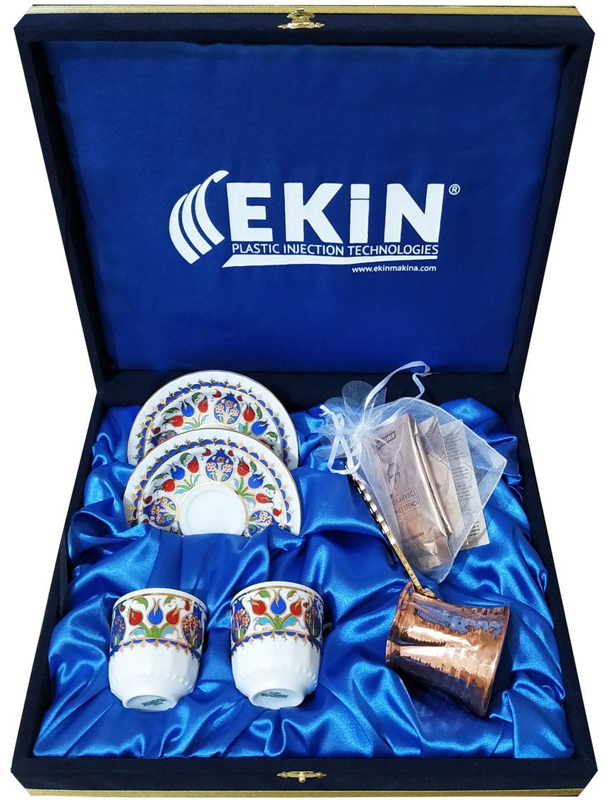 Bakır Cezveli Kahveli  İkili Kahve Takımları Kadife  Kutuda Logo Baskılı şık hediyeler