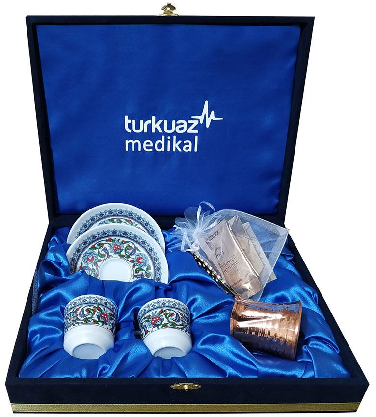 Logolu Türk Kahveli Bakır Cezveli Hediyelik Türk Kahvesi Fincan Takımları