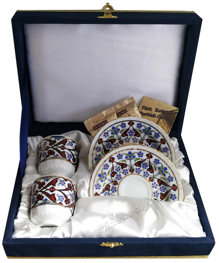 Turkish Coffee Cup Set for Two Kutahya