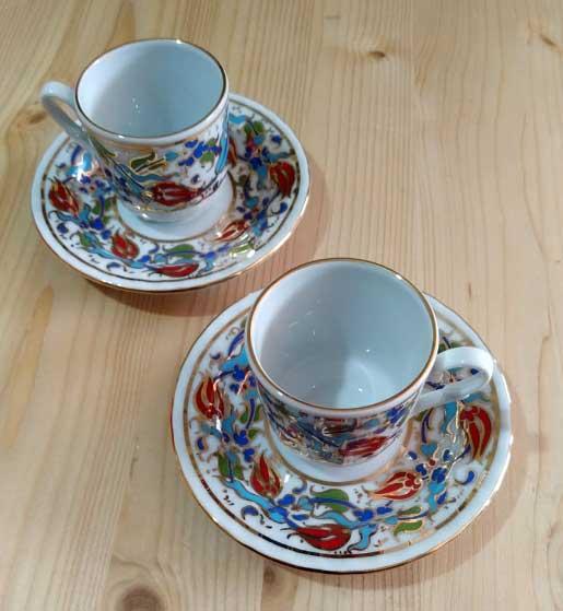 Orjinal Güral Porselen Fincan Takımları Altın Yaldızlı Osmanlı Çini Desenli Türkiye anısı hatıralar Baskılı promosyon kutulu kahve fincan takımı