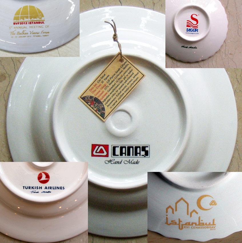 Tabak Arkası Logolu Çini Tabaklar