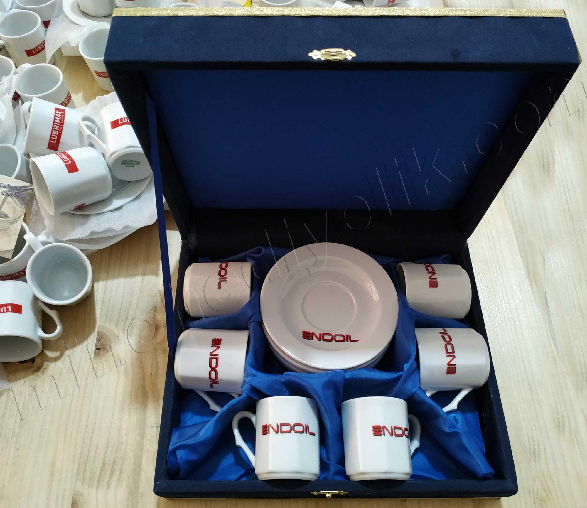 6 Kişilik Kurumsal Promosyonluk Logolu Kahve Fincan Setleri Hediyelik altı  Kişilik kurumsal promosyon Kahve Fincanları Toptan Satış Fiyatları