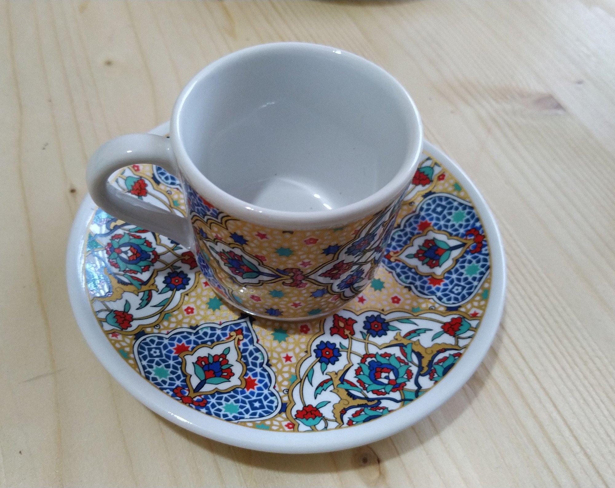 Çini Desenli Türk Kahvesi Fincan Takımları Gümüşler Belediyesi Logosu