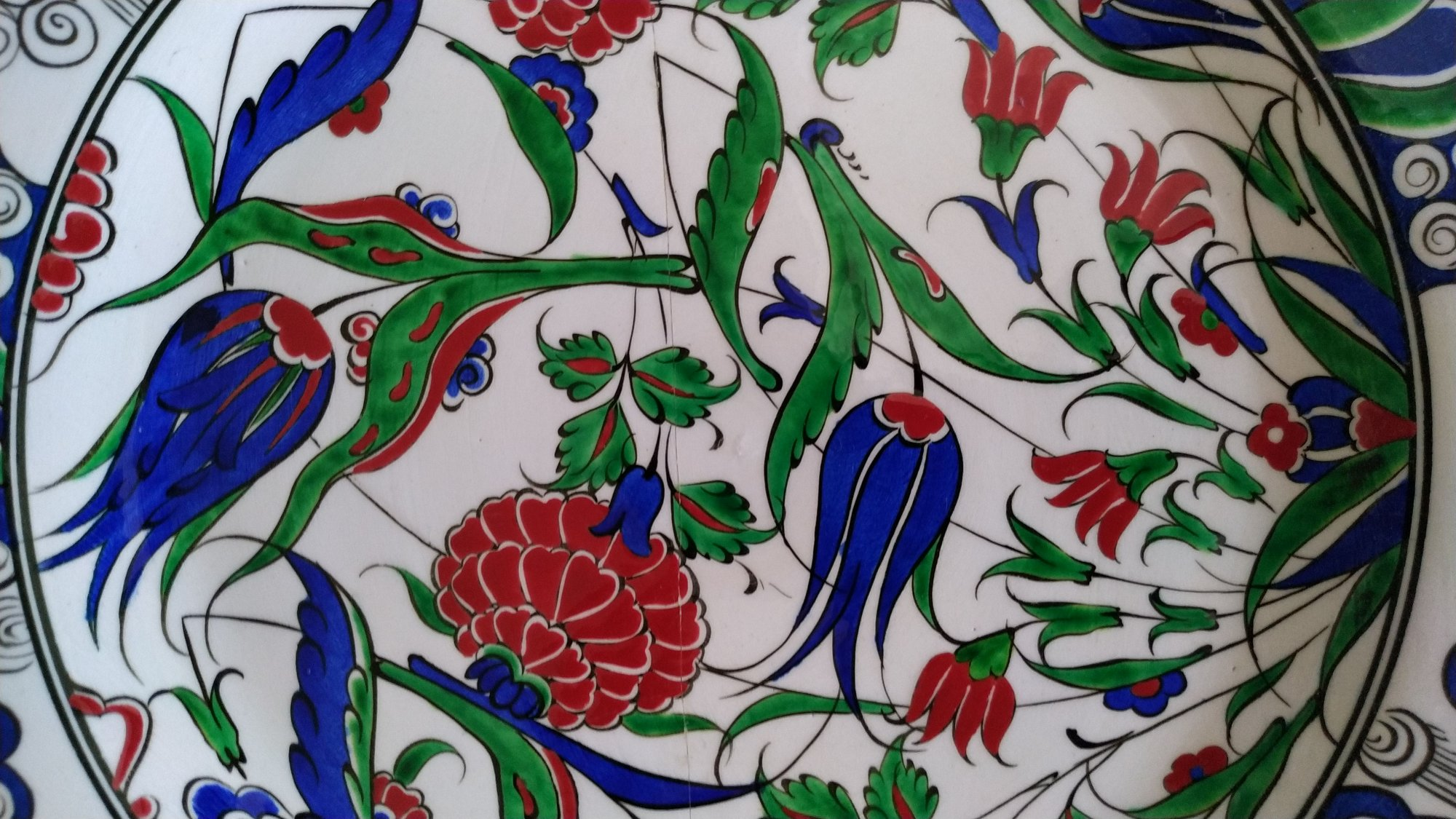 16, Yüzyıl Osmalı Replika Desenli Dekal Logolu Çini Tabaklar Samur Fırça  Klasik Çini Tabaklar