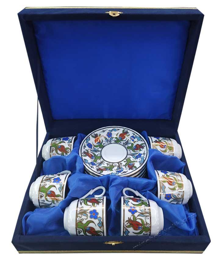 Orjinal Güral Porselen  Altın Yaldızlı Sedef  6 lı Kahve Fincan Takımı promosyon fincan takımı