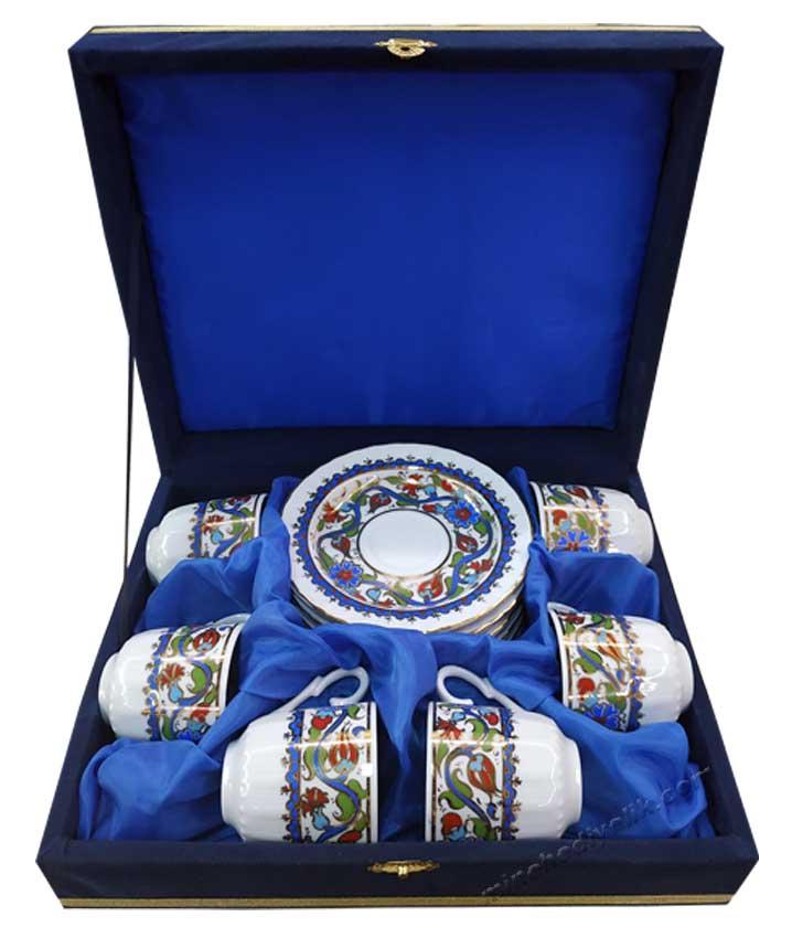 Osmanlı Çini Desenli Türk Kahvesi Kahve Takımı altılı promosyon fincan takımı
