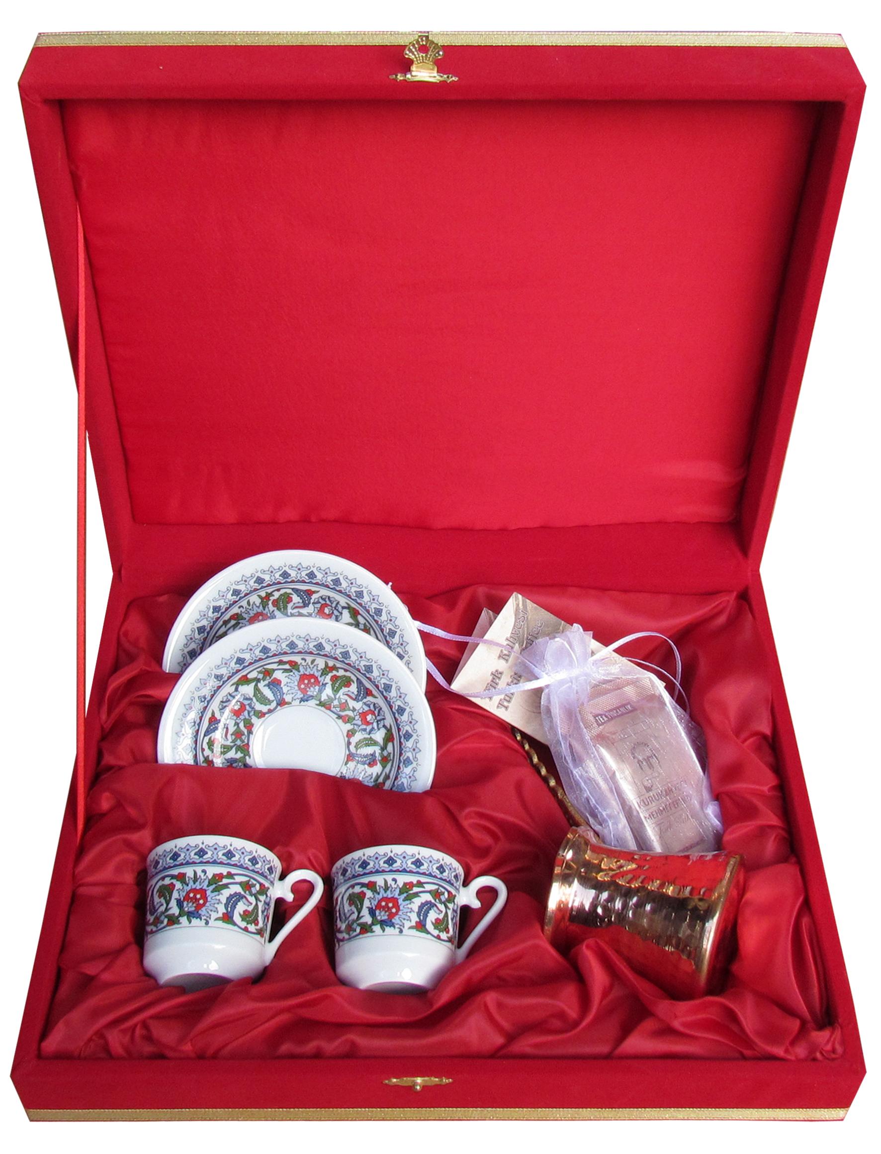 Kırmızı Kadife Kutuda Kütahya Porselen Bakır Cezveli Kahveli İkili Fincan Setleri Türkiye hatırası istanbul anısı otantik hediyeler