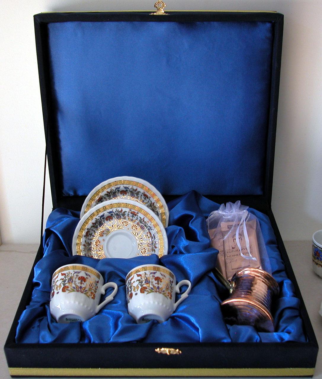 Kutu içine Logo Bakır Cezveli Kahveli İkili Kahve Setleri Geleneksel Türk Hediyeleri