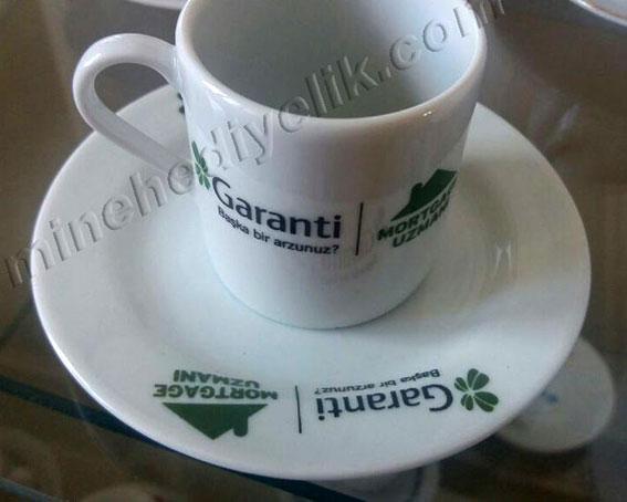 Sade düz beyaz fincana logo resim foto baskı garanti bankası fincan takımı beyaz kahve fincanı takımı
