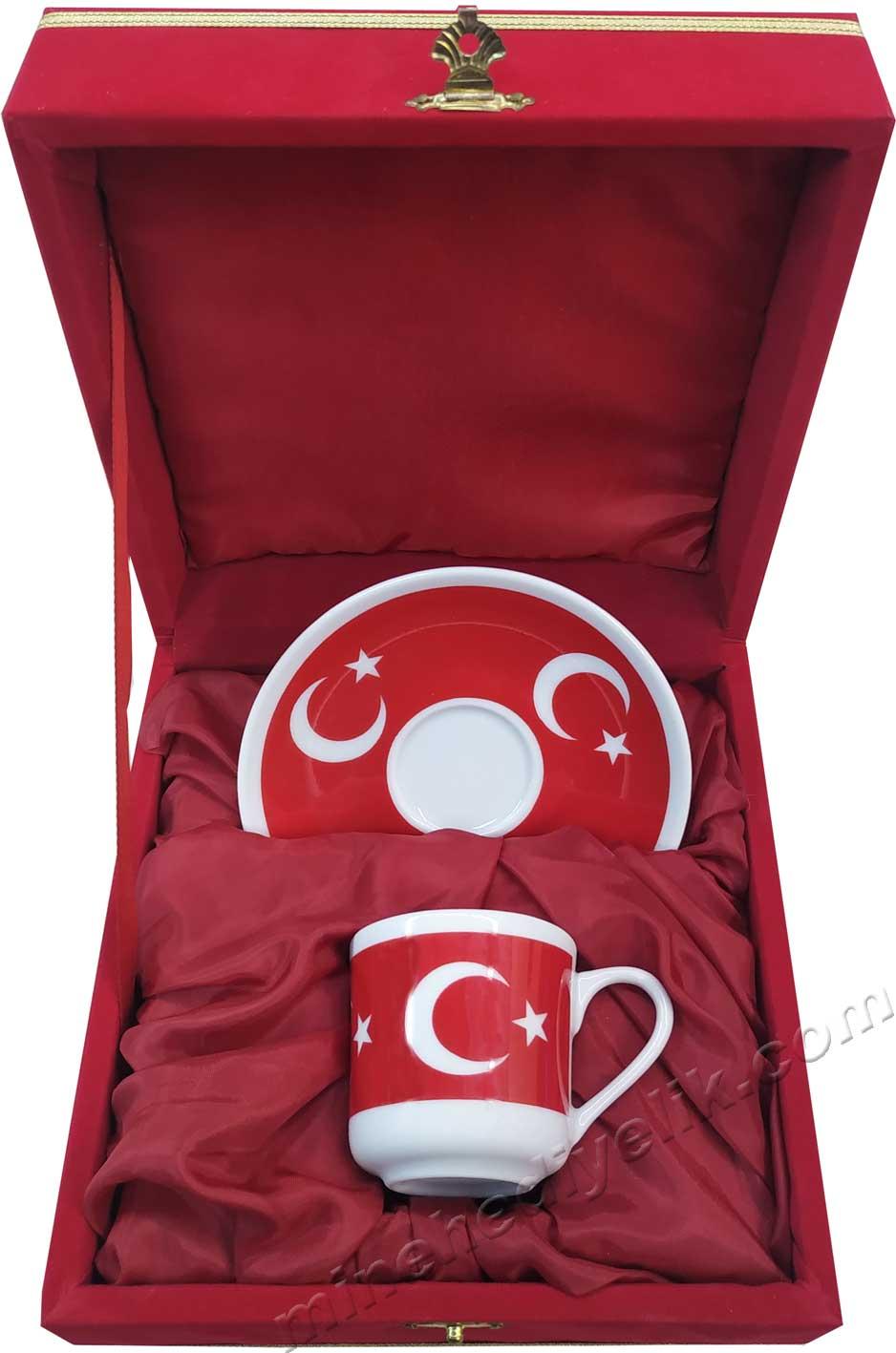 Tekli Ay yıldız Türk Bayraklı Kahve Fincan Seti  Kırmızı Kadife Kutulu Hediyelik Tek Kişilik kurumsal promosyon Kahve Fincanları Toptan Satış Fiyatları