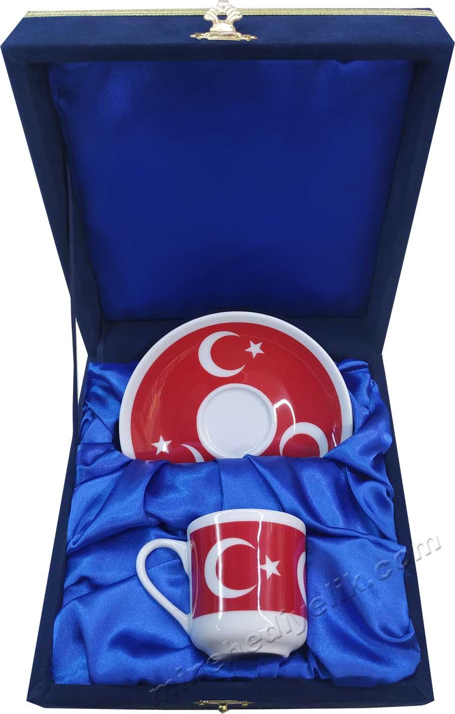 Tekli Ay yıldız Türk Bayraklı Kahve Fincan Seti  Lacivert Kadife Kutuda Hediyelik Tek Kişilik kurumsal promosyon Kahve Fincanları Toptan Satış Fiyatları