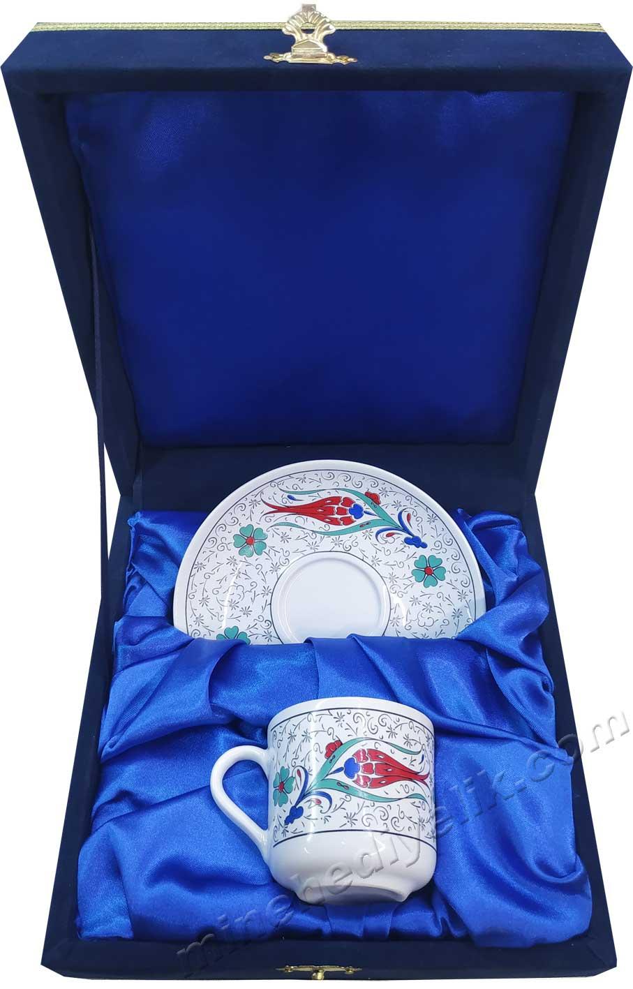 Klasik Haliç Lale Desenli Türk Kahve Fincan Takımı Tek Kişilik Kadife Kutuda Kaliteli promosyon hediyeler kurumsal logo baskılı kutulu Kaliteli promosyon hediyeler kurumsal logo baskılı kutulu