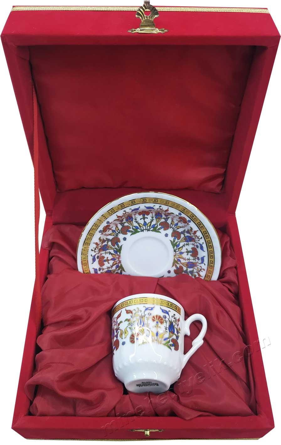 Promosyonluk Tekli Kahve Fincan Takımları Kırmızı Kadife Kutulu Hediyelik Kurumsal promosyon ürünleri Bir kişilik Kutulu Dekoratif Türk Kahvesi Fincan Setleri