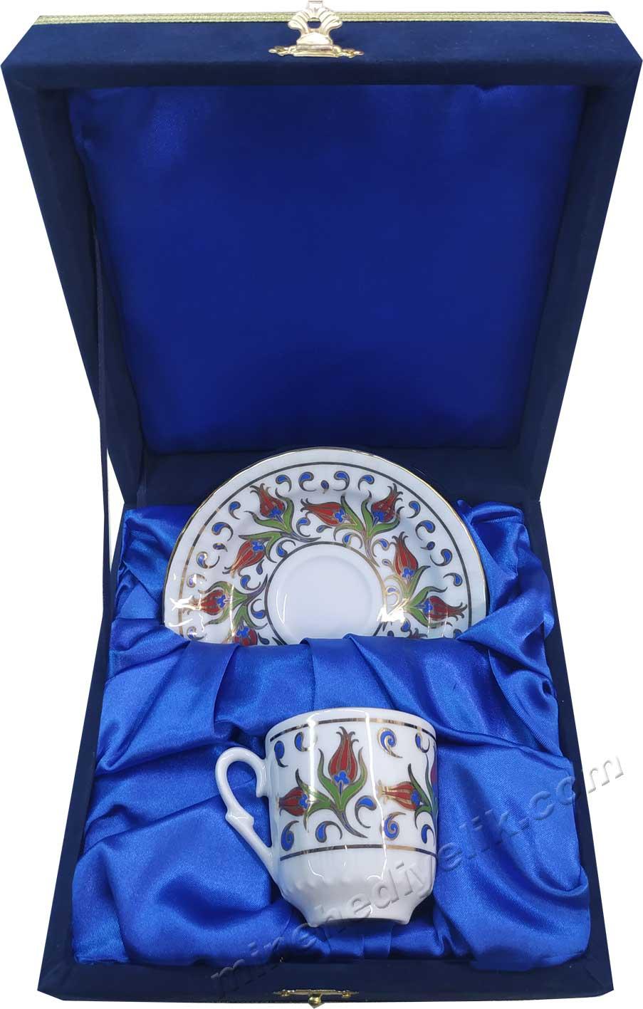 Kadife Kutuda Tek Kişilik Türk Kahvesi Fincan Setleri Hediyelik Kurumsal promosyon ürünleri Bir kişilik Kutulu Dekoratif Türk Kahvesi Fincan Setleri