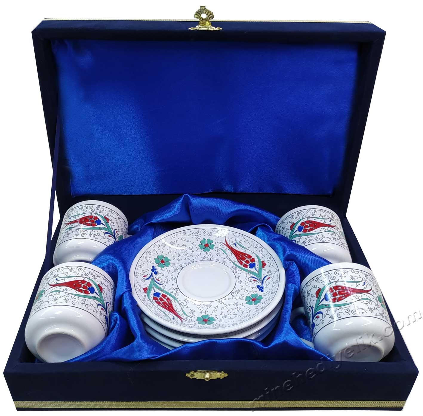Kurumsal Hediyelik Dörtlü Kahve Fincan Setleri 4'lü kahve Fincan takımı fiyatı Kutulu Dekoratif çini desenli Fincan Takımları