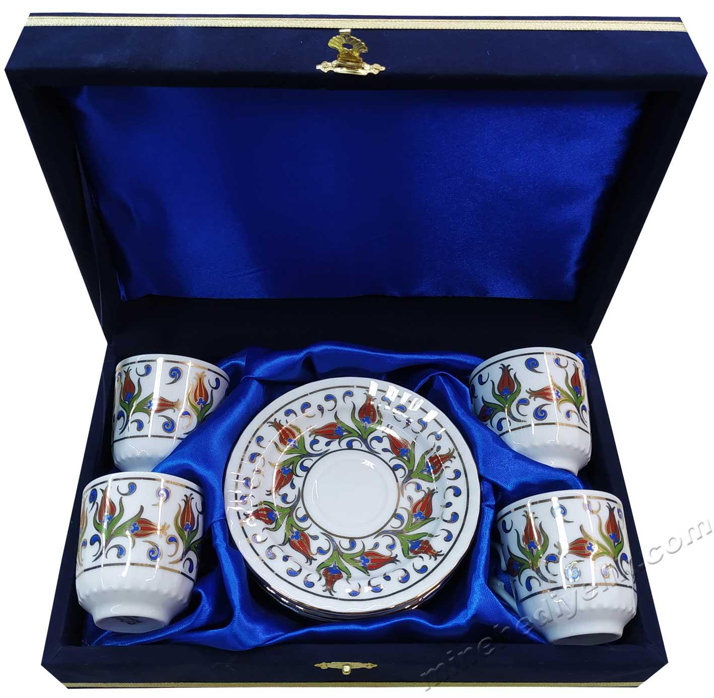 4 Kişilik Kahve Fincan setleri Yabancı Misafirler İçin Türkiye ye Özgü Hediyeler kutulu dekoratif çini desenli Osmanlı kahve Fincanı setleri