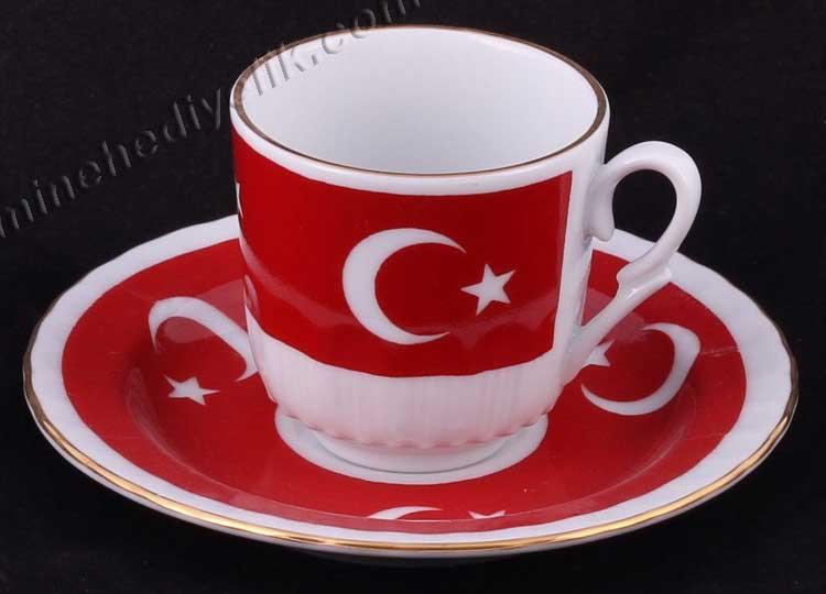 Ay Yıldız Desenli Yabancı Misafirlere Yönelik Protokol Hediyeleri Yabancı Misafirler için Kütahya Ayyıldız Fincan 2 li set türk bayraklı kahve Fincan Takımları