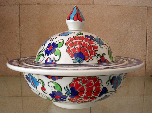 Klasik İznik Çini Gül Motifli Lokumluklar Osmanlı Tarzı Çini Dükkanı