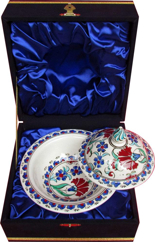 Kadife Kutulu Osmanlı Desenli Çini Şekerlikler