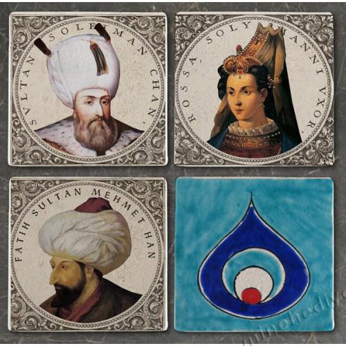 Doğal taşa baskı Hürrem Sultan, Kanuni, Fatih ve Nazar Boncuklu bardak altılkları