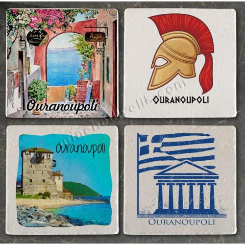 Doğal taşa hediyelik bölgesel ve yöresel baskılar Yunanistan