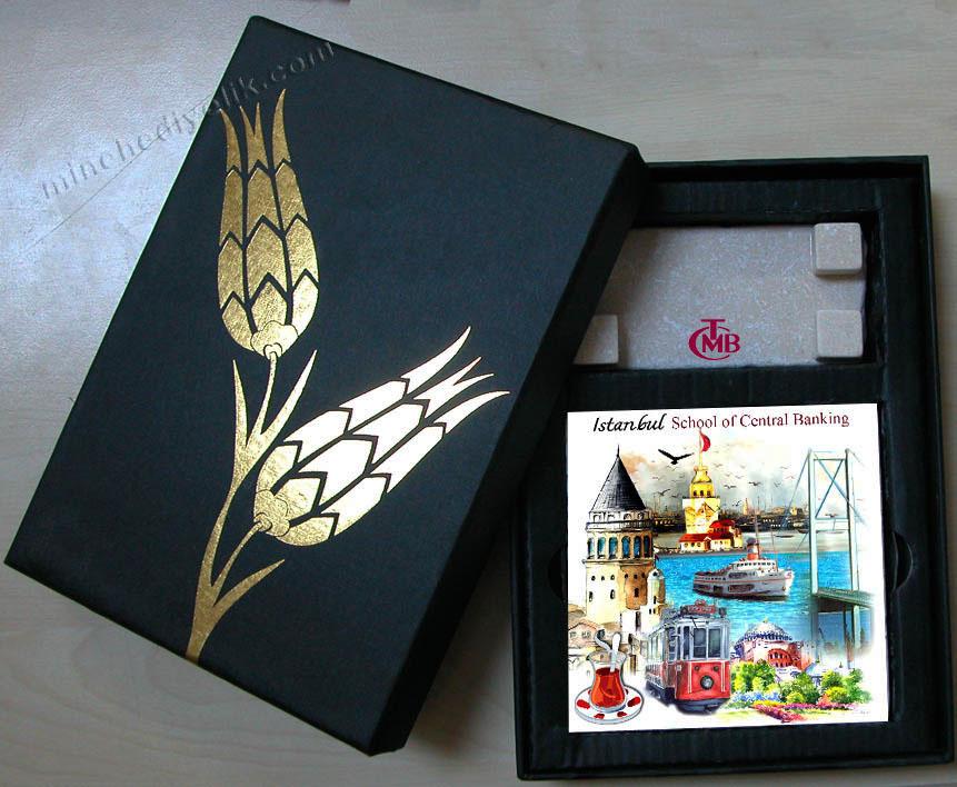 doğal taşa baskılı masa süsü hediyelik masa dekoru kurumsal logo baskılı doğal taş masa süsleri Osmanlı dekorasyon ürünleri