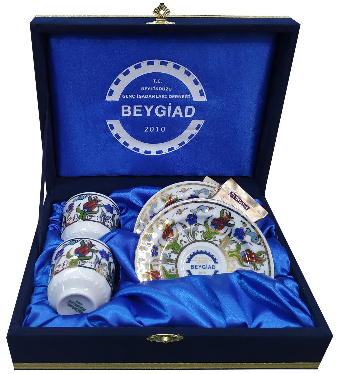 Kurumsal Logo Baskılı Kahve Fincan Takımları İkili Kadife Kutulu firma logolu kahve fincanı promosyon kahve paketi sepeti Türk kahvesi hediye seti hediye kahve kutusu