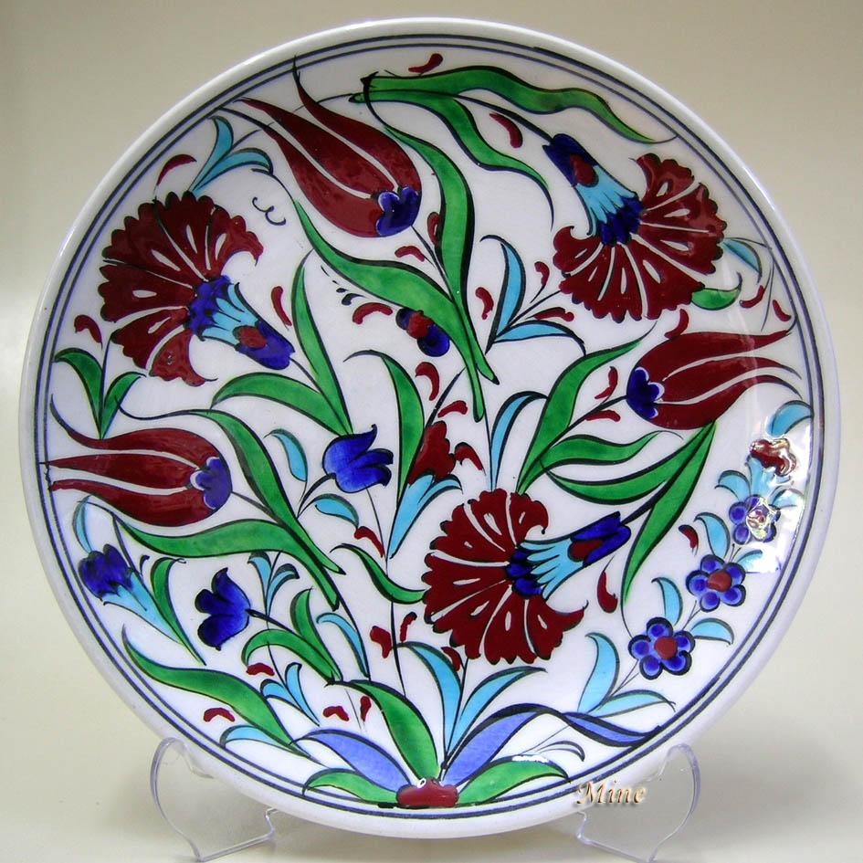 TR200101-5 Lale Karanfil Dalgası Duvar Süsü Tabaklar Set Olarak Kombine Edilebilir en güzel çini desenleri Çini sanatı örnekleri