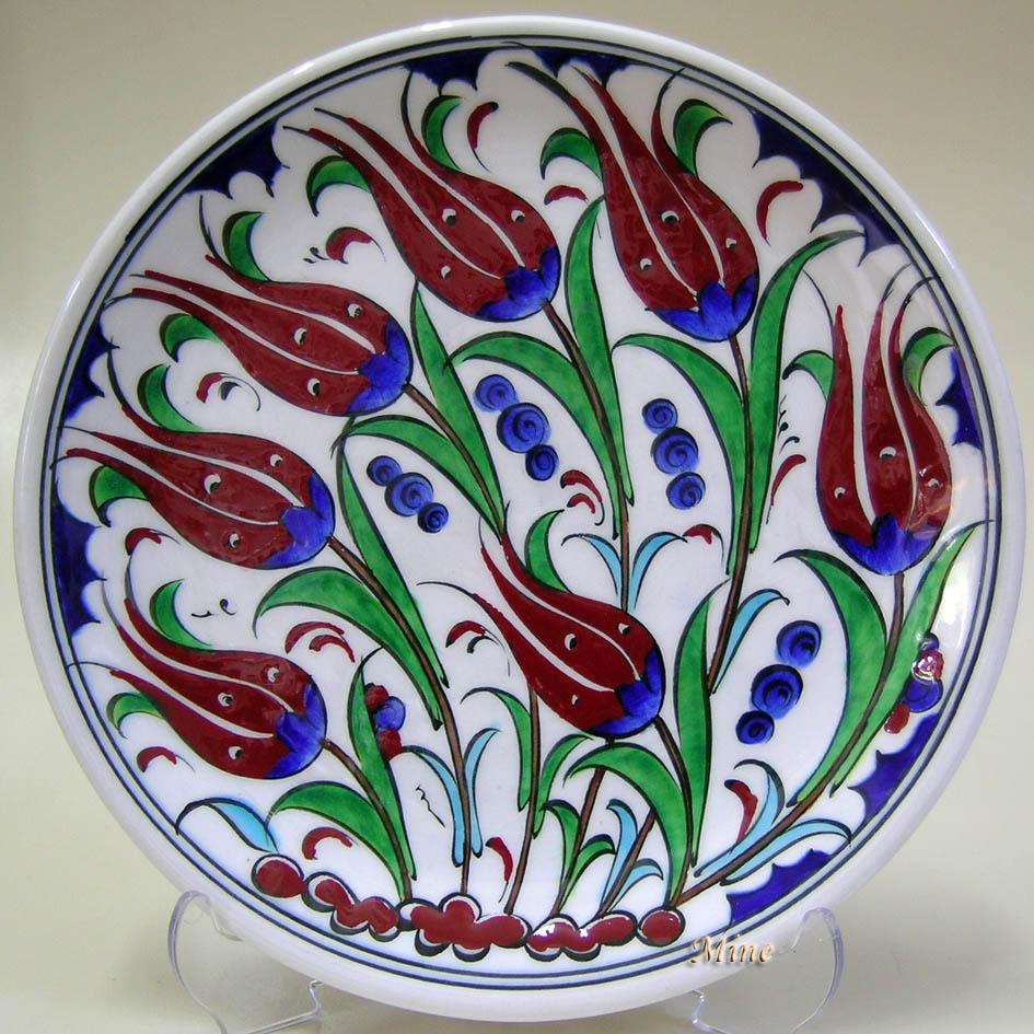 TR200101- 7 Rüzgarlı Laleler İstanbul Türkiye Hatırası Anlamlı Hediyelikler Dekoratif duvar tabakları Çini deseni örnekleri