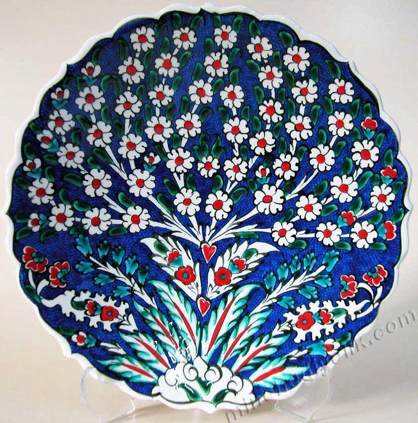 TR200101-1 Hayat Ağacı Motifi Lacivert Zeminli Klasik Osmanlı Motifleri kaliteli çiniler İznik Çinileri Çini sanatı örnekleri