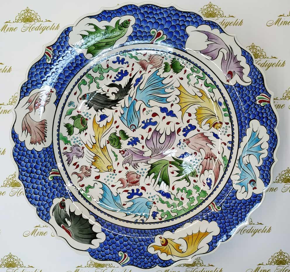 Klasik İznik Balık Desenli Çini Tabak En Güzel Çini Desenleri balık pulu desenli çiniler lenger çukur tabak Çini deseni örnekleri