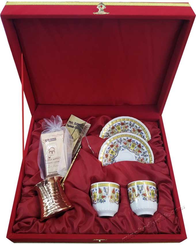 Nostaljik Hediyelik Kahveli Bilgi Kartlı Bakır Cezve İkili Kahve Fincan Seti