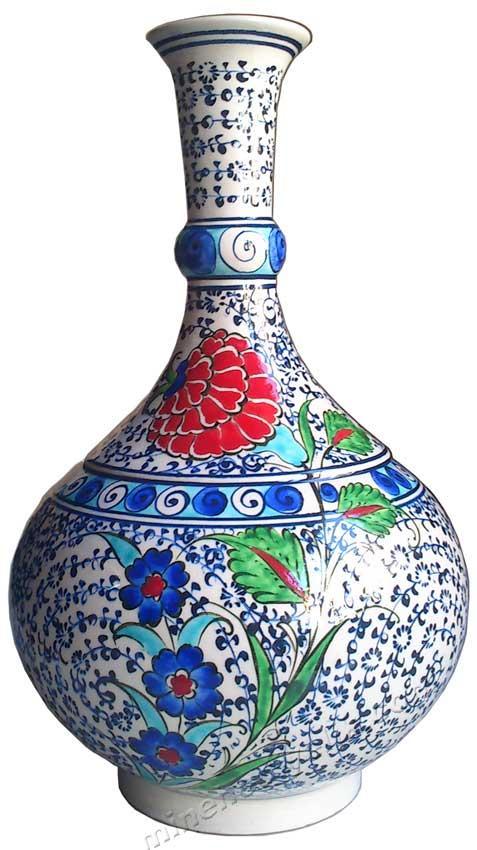 Mavi Çini Vazoda Çiçekler Tablosu İçin Örnek Çini Modeli İznik Klasikleri ,Dünyanın değişik müzelerinde bulunan bize ait çini sanatının yeniden yapılan en iyi şekilde yapılan taklitleri