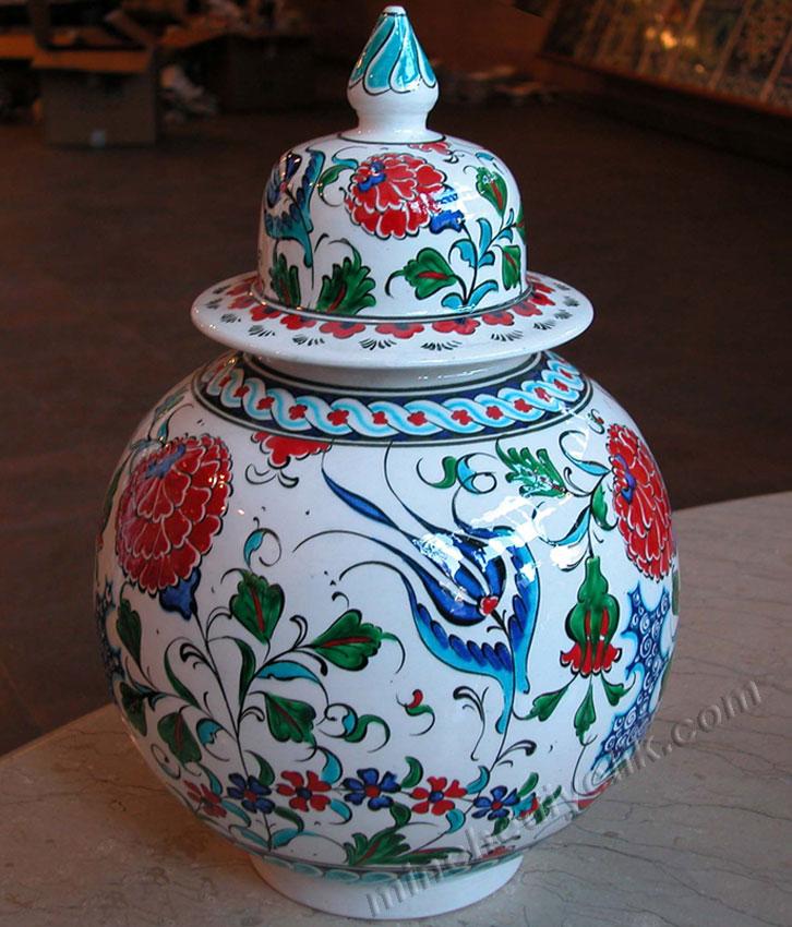 15 cm el yapımı işlemeli çini kavanoz gül desenli klasik Osmanlı dekoratif hediyelik eşyalar geleneksel vitrin süsleri