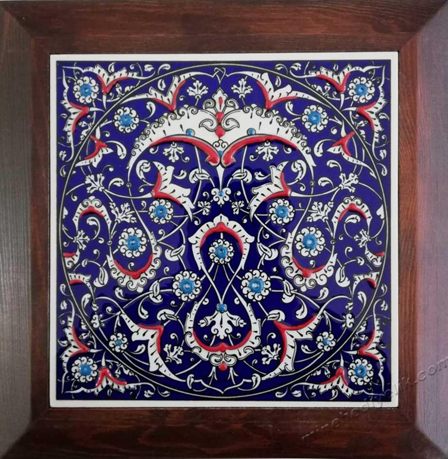 İznik Rumi Desenli lacivert Kobalt çiniler