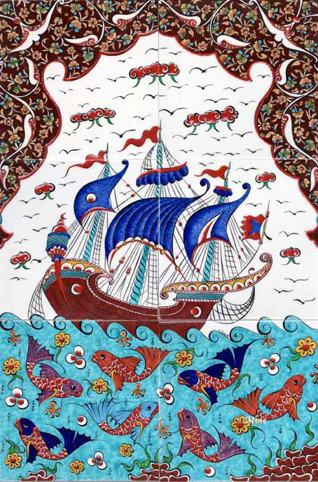 Osmanlı Gemili Kalyonlu Çini Panolar