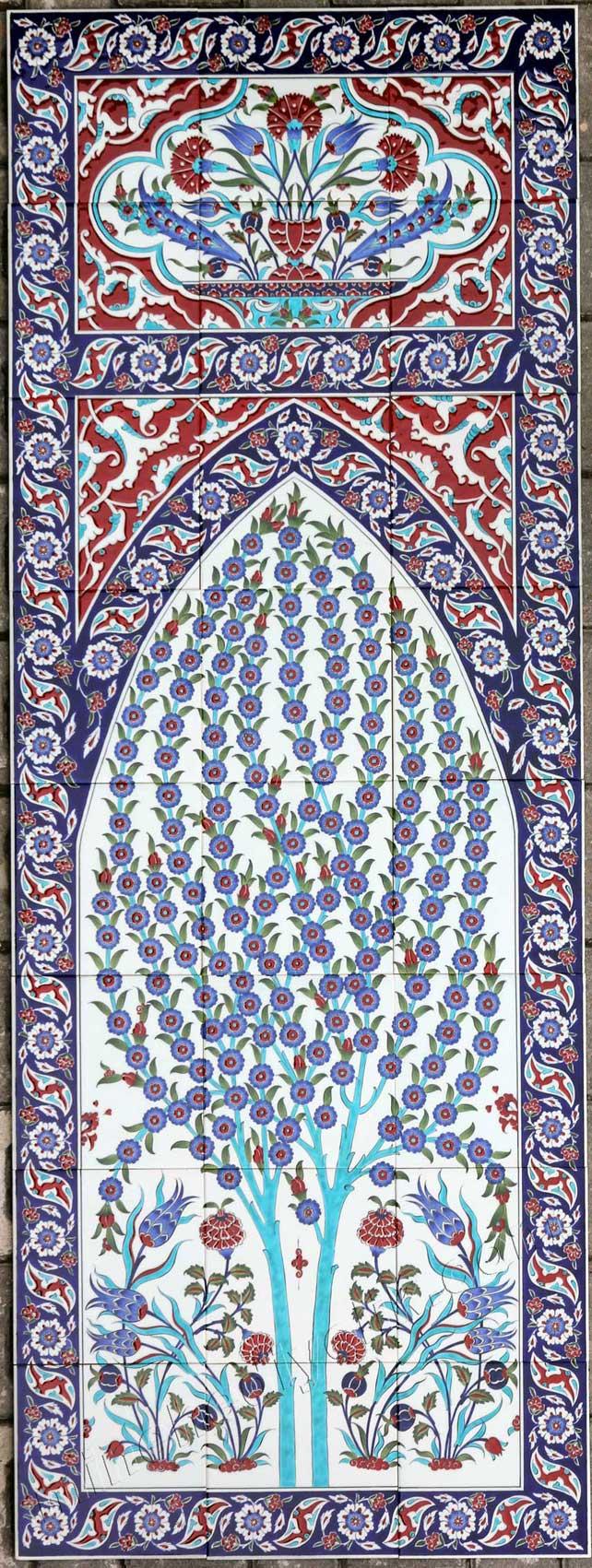 Hayat ağacı motifli çini pano otel türk hamamı sauna ve spa duvar dekorasyonu için Seramik tablo örnekleri AVM cafe ve restoranlar için dekoratif değer katan tasarımlar