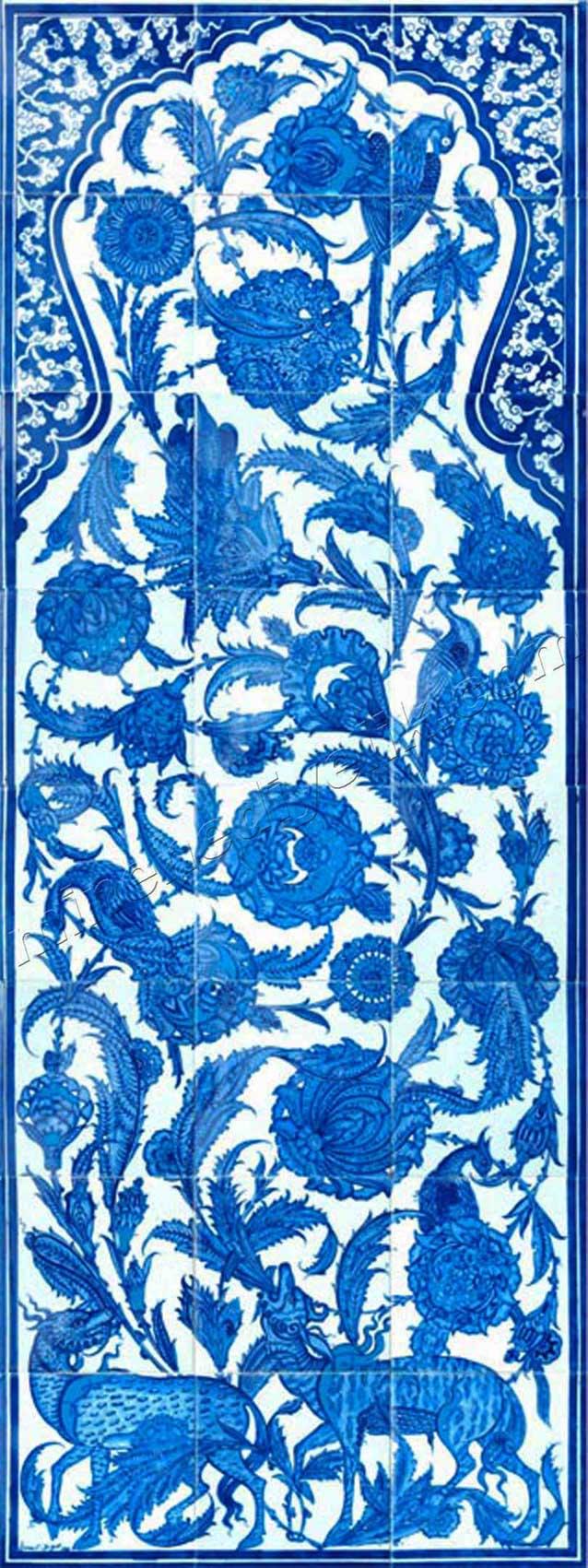 Ceylanlı çini pano Topkapı sarayı müzesi sünnet odası konut okul üniversite mekan dekorasyonu için Seramik ve çini pano atölyesi el yapımı İznik ve Kütahya Çinileri