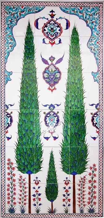 Uzun ömür simgesi Servi ağaçları, servi desenli çini duvar tablosu.