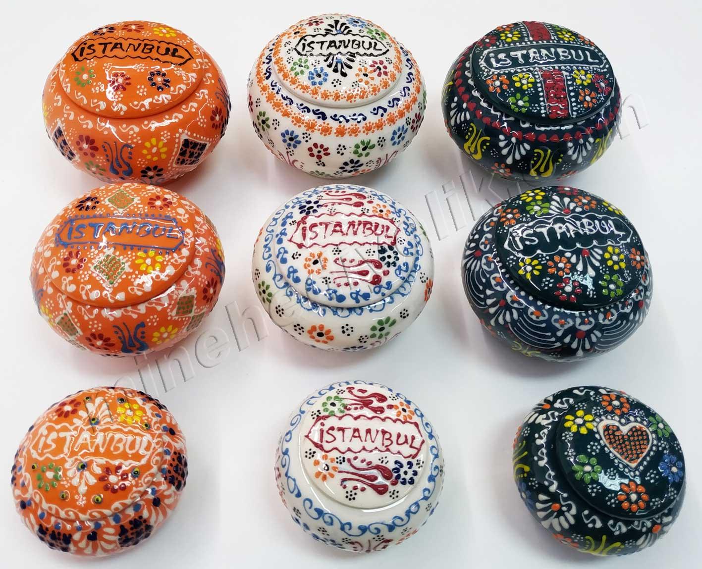 Yöresel ve Geleneksel İstanbul Hatırası Hediyeler el yapımı çini seramik lokumluklar el işi küçük hediyelikler