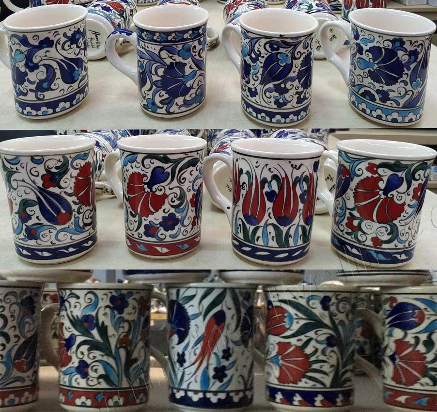 Çini desenli seramik kupa ve bardaklar kullanıma yönelik kurşunsuz lead free  borlu sağlıklı çini ve seramik kupalar