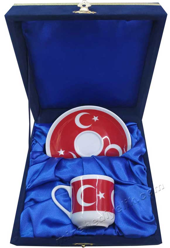 Türk Bayrağı Ay Yıldız  Desenli Kahve Fincanı Tekli Kadife Kutularda Logo Baskılı Kurumsal Türkiye ye Özel Hediyeler ay yıldızlı kurumsal hediyelik