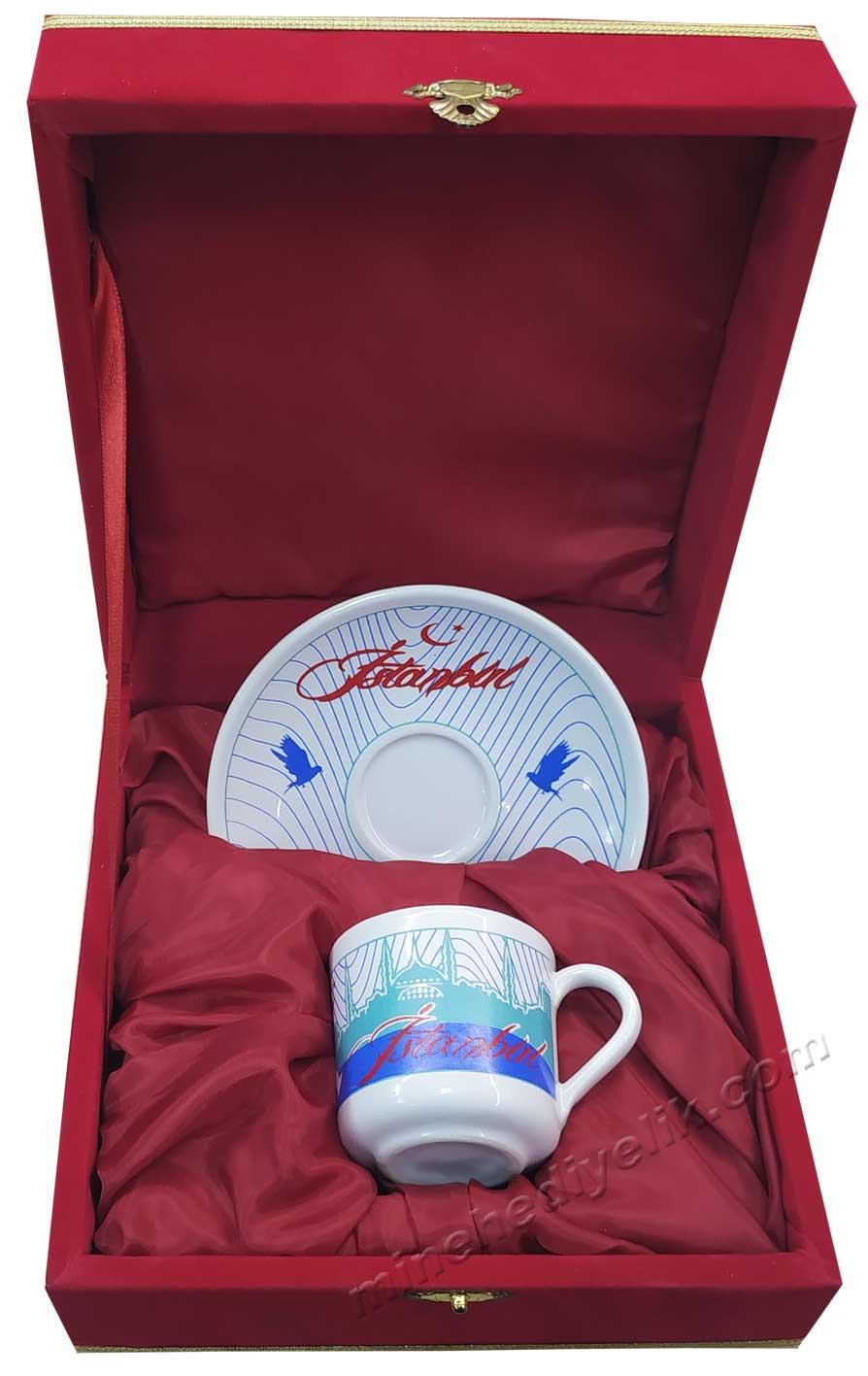 İstanbul görselli kurumsal hediyelikler kahve fincan takımları tek kişilik Hediyelik Kurumsal promosyon ürünleri Bir kişilik Kutulu Dekoratif Türk Kahvesi Fincan Setleri
